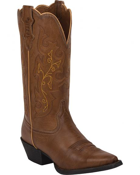 Justin Burnished Brown Farm & Ranch Cowgirl Boots - Snip Toe