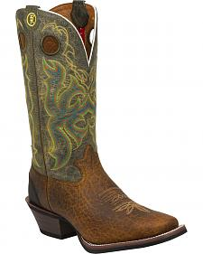 Tony Lama Bark Bull Buffalo Green Top 3R Cowboy Boots - Narrow Square Toe