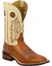 Tony Lama Suntan Rebel Americana Cream Top Cowboy Boots - Square Toe