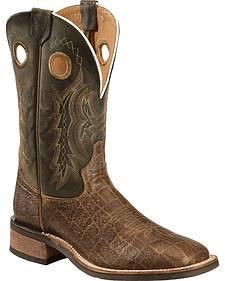 Tony Lama Tan Elephant Grain Americana Cowboy Boots - Square Toe
