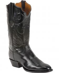 Tony Lama Black Brushed Signature Series Goat Western Boots - Square Toe