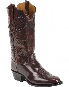 Tony Lama Black Cherry Brushed Signature Series Goat Western Boots - Square Toe
