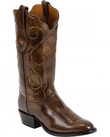Tony Lama Brown Brushed Signature Series Goat Western Boots - Square Toe