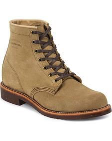 "Chippewa Men's 6"" Lace-Up Khaki Suede Service Boots - Round Toe"