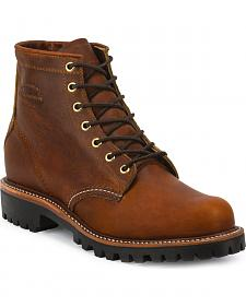 "Chippewa Men's Renegade Tan 6"" Lace-Up Boots - Round Toe"