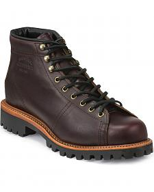 Chippewa Men's Cognac Lace-to-Toe Field Boots - Round Toe