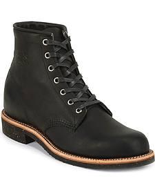 "Chippewa Men's Black Odessa 6"" Lace-Up Service Boots - Round Toe"