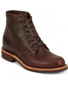 Chippewa Men's Cognac General Utility Service Boots - Round Toe