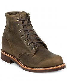 "Chippewa Men's 6"" Lace-Up Crazy Horse Service Boots - Round Toe"