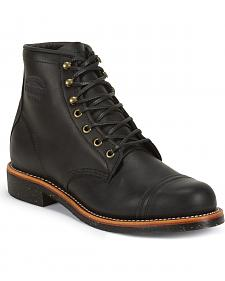 "Chippewa Men's 6"" Lace-Up Black Odessa Homestead Work Boots - Round Toe"