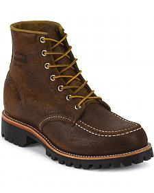 "Chippewa Men's 6"" Lace-Up Brown Suede Field Boots - Moc Toe"