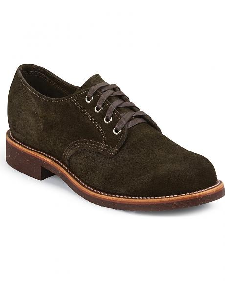 Chippewa Men's Chocolate Moss Whirlwind Service Suede Oxford Shoes