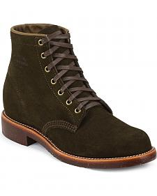 Chippewa Men's Chocolate Moss General Utility Suede Trooper Service Boots