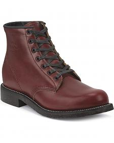 "Chippewa Men's Limited Edition 6"" Lace-Up Oxblood Service Boots - Round Toe"