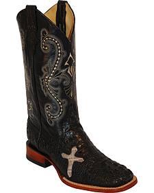Ferrini Men's Black Caiman Print Western Boots - Square Toe