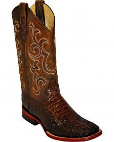 Ferrini Men's Brown Caiman Print Western Boots - Square Toe
