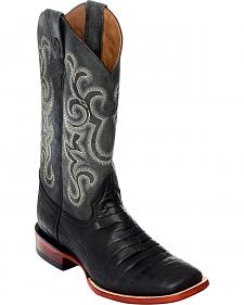 Ferrini Men's Black Caiman Belly Print Western Boots - Square Toe