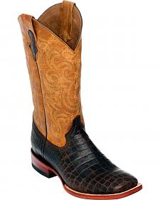 Ferrini Men's Chocolate Brown Caiman Belly Print Western Boots - Square Toe