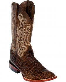 Ferrini Men's Brown Caiman Belly Print Western Boots - Square Toe