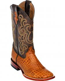 Ferrini Men's Honey Brown Caiman Belly Print Western Boots - Square Toe