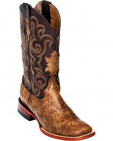 Ferrini Men's Light Brown Boa Print Western Boots - Square Toe