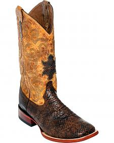 Ferrini Men's Light Brown Snake Print Western Boots - Square Toe