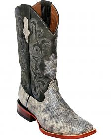 Ferrini Men's Grey Snake Print Western Boots - Square Toe