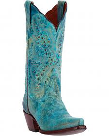 Dan Post Distressed Turquoise Kiki Cowgirl Boots - Snip Toe