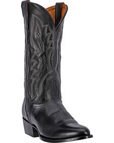 El Dorado Black Vanquished Calf Cowboy Boots - Round Toe