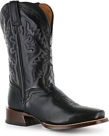 El Dorado Black Vanquished Calf Cowboy Boots - Square Toe