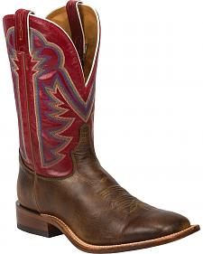 Tony Lama Tan Crush Blaze Americana Cowboy Boots - Square Toe