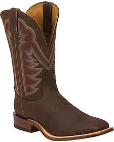 Tony Lama Oiled Mocha Americana Stockman Cowboy Boots - Square Toe