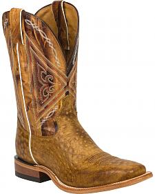 Tony Lama Tan Reverse Quill Print Americana Cowboy Boots - Square Toe