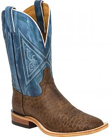 Tony Lama Chocolate Reverse Quill Print Americana Cowboy Boots - Square Toe