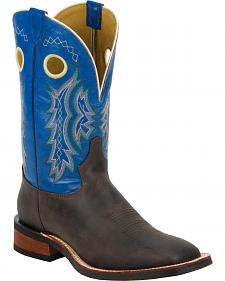 Tony Lama Chocolate Century Americana Blue Top Cowboy Boots - Square Toe