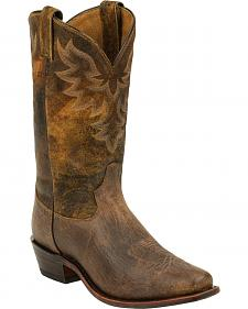 Tony Lama Tan Jaws Americana Cowboy Boots - Narrow Square Toe