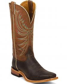 Tony Lama Chocolate Century Americana Cowboy Boots - Square Toe