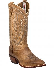 Tony Lama Beige Travis Cowboy Boots - Narrow Square Toe