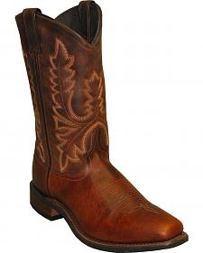 Abilene Brown Stockman Cowboy Boots - Square Toe