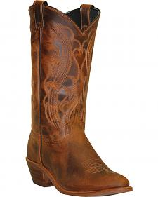 Abilene Sage Distressed Brown Cowboy Boots - Round Toe