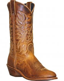 Abilene Sage Distressed Tan Cowboy Boots - Round Toe