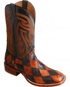 Twisted X Black & Peanut Caiman Rancher Cowboy Boots - Square Toe