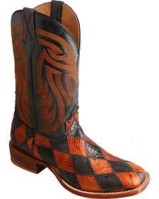 Twisted X Black & Peanut Caiman Rancher Cowboy Boots - Square Toe