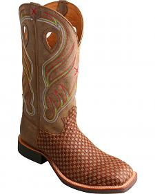 Twisted X Brown Basketweave Ruff Stock Cowboy Boots - Square Toe