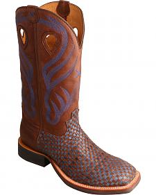 Twisted X Bomber Blue Basketweave Ruff Stock Cowboy Boots - Square Toe