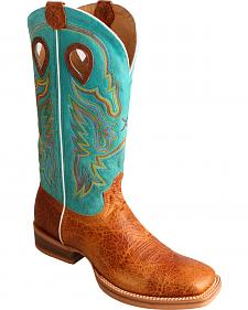 Twisted X Turquoise Ruff Stock Cowboy Boots - Square Toe