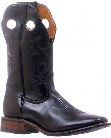 Boulet Black Stockman Cowboy Boots - Square Toe