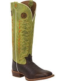 Tony Lama Verde Choco Jasper 3R Buckaroo Cowboy Boots - Square Toe