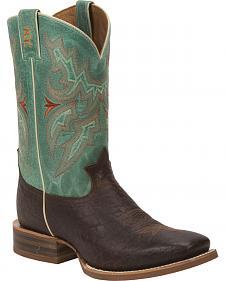 Tony Lama Cognac Jasper 3R Stockman Boots - Round Toe
