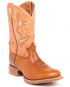 Tony Lama Men's Cognac Crockett 3R Stockman Cowboy Boots - Round Toe